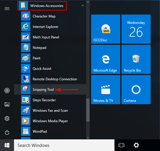 How to take windows snipping tool?